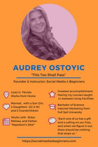 Meet Audrey Ostoyic, Founder and Instructor at Social Media 4 Beginners. Click to see all our Featured Mompreneurs.