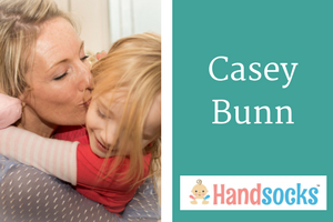 Interview with Casey Bunn, Mom Inventor of Handsocks. Click to see all our Featured Mom Inventors.