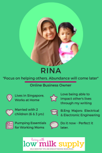 Meet Rina, Mom Blogger and Living with Low Milk Supply. Click to see all our Featured Mompreneurs.