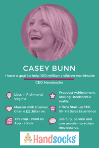 Casey Bunn CEO and Mom Inventor, Handsocks. Click to see all our Featured Mompreneurs.