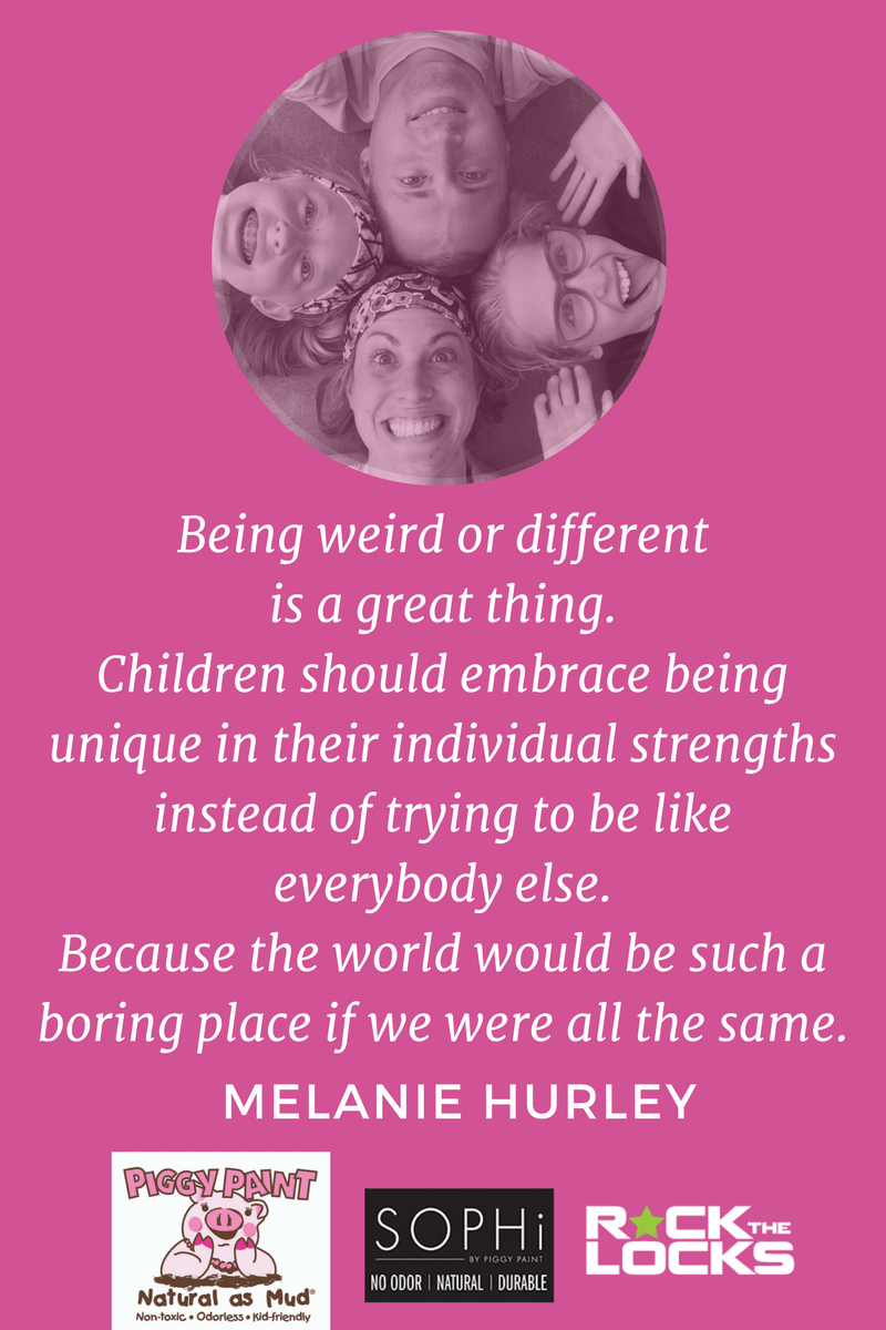 """Growing up I was always that weird kid and I wasn't really sure where I fit in. Now I look back and I see that all those things I was insecure about they've really been the attributes that have made me successful today. "" Melanie Hurley, Mom Inventor, Piggy Paint, SOPHi and Rock the Locks. Click to read or pin for later."