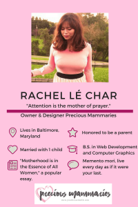 Rachel le Char, Owner and Designer at Precious Mammaries. Click to see all our Featured Mompreneurs.