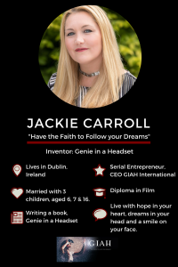 Meet Jackie Carroll, Mom Inventor of Genie in a Headset , Your Portal to the Life You Dream of.
