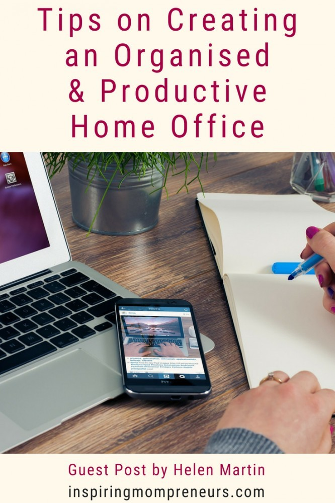 Having an organised office boosts productivity. Here are some of the best home office ideas to implement c/o Helen Martin. Read more at inspiringmompreneurs.com #besthomeofficeideas #guestpost