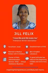 Meet Jill Felix who offers Virtual Assistant Administrative Services inspiringmompreneurs.com