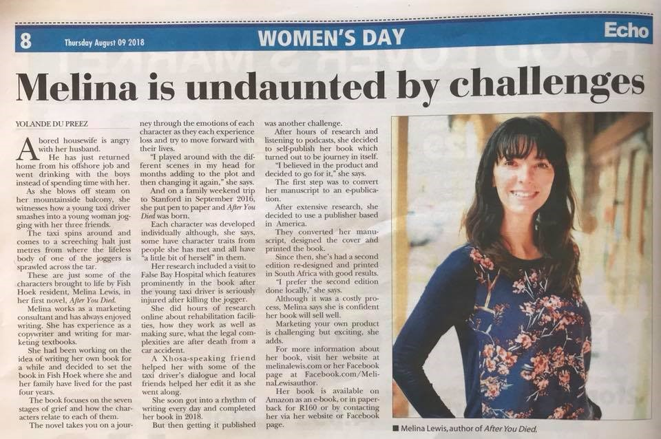 Melina Lewis Article in the False Bay ECHO