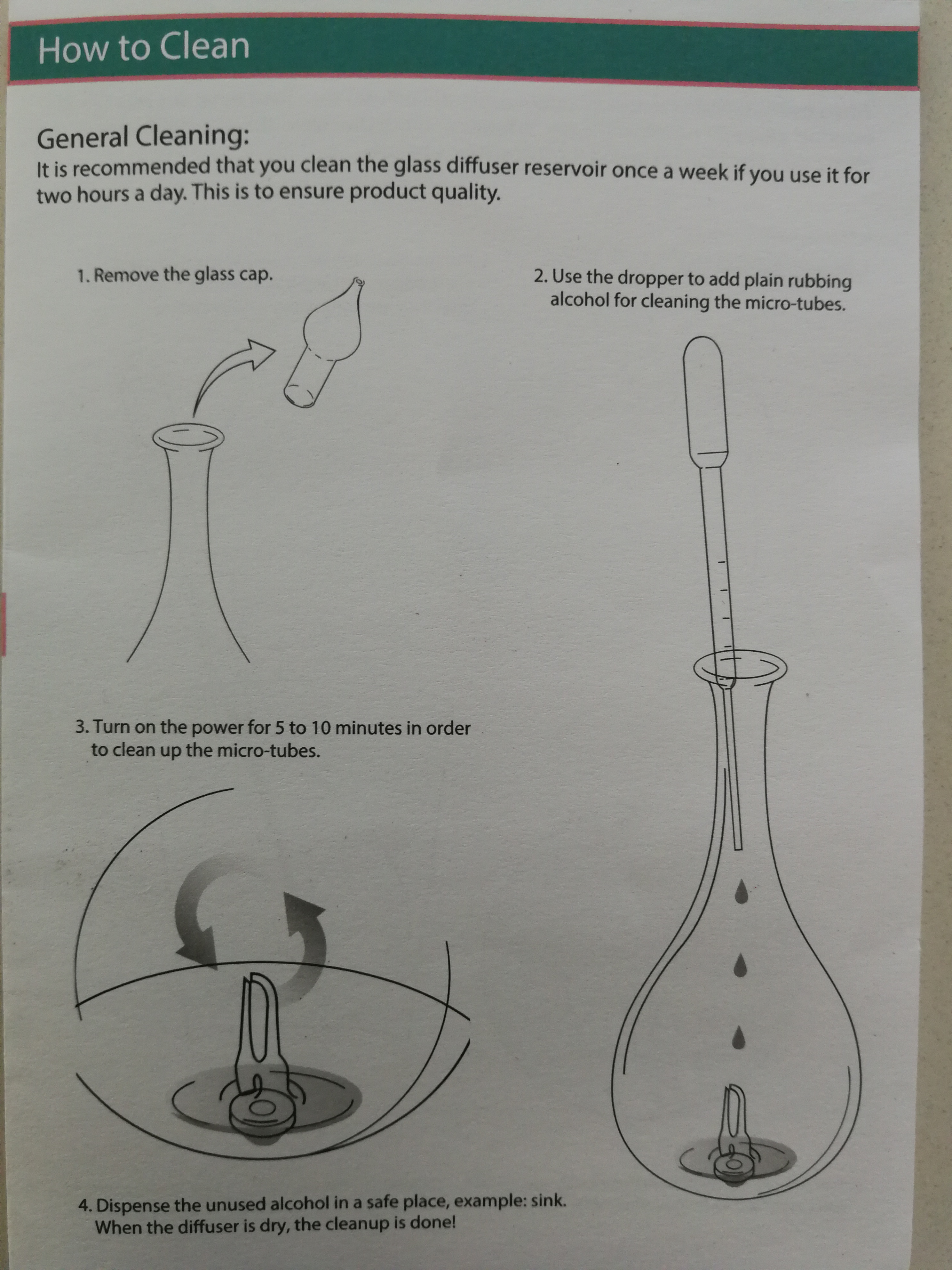 Organic Aromas Diffuser Cleaning Instructions