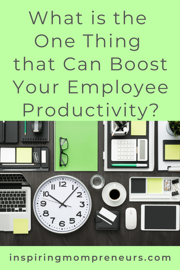 "Everybody's talking about the ""one thing"" these days.  So what's the one thing that can boost employee productivity? Pick one of these 7 brilliant productivity boosters. #boostyouremployeeproductivity #businesstips #careertips #employeesatisfaction"
