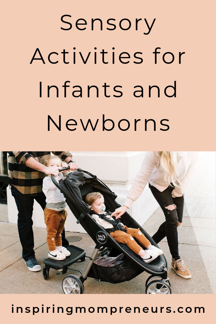 Stimulating your baby's senses is vital to helping them develop their brain and nervous system. Great sensory activities to arouse all 5 senses in this contributed post by Baby Jogger. #sensoryactivitiesinfants #parentingtips #inspiredparenting
