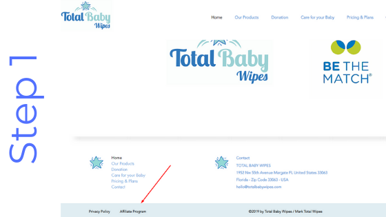 Total Baby Wipes Affiliate Program Step 1