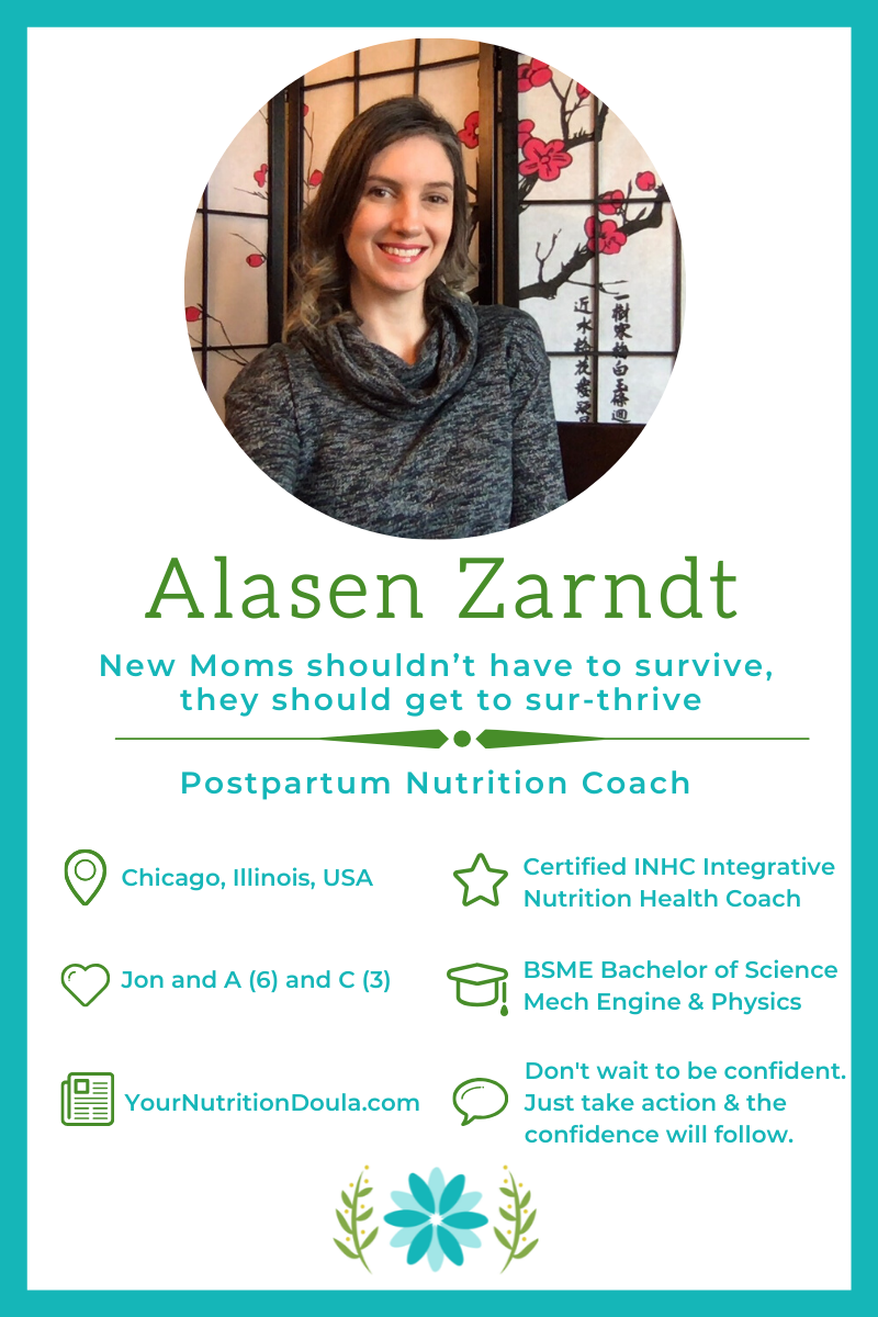 Are you struggling to maintain your ideal weight, suffering from postpartum depression or going through life as mombie?  Your Nutrition Doula to the rescue!  Alasen Zarndt, Your Nutrition Doula dishes out amazing advice in this interview.  #YourNutritionDoula #PostPartumDiet #8WeekstoWellnessProgram #FruitandVeggieChallenge  #FreeChallenge #FeaturedMompreneur #InspiringMompreneurs