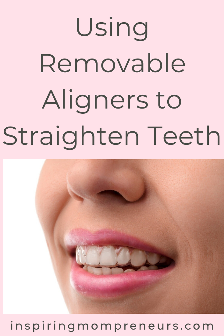Removable aligners are nearly invisible, making them perfect for Mom entrepreneurs whose professional appearance is critical to success.  Here's why Moms are using invisible aligners to straighten teeth. #invisiblealigners #clearaligners #invisalign