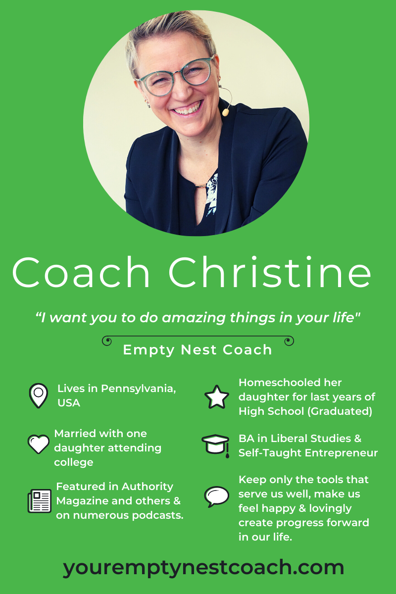 Meet the amazing Christine Maziarz, Your Empty Nest Coach, who is most well known for her very successful podcast, where she just published her 106th episode. #youremptynestcoach #emptynester #emptynestmom #coach #podcaster #featuredmompreneur