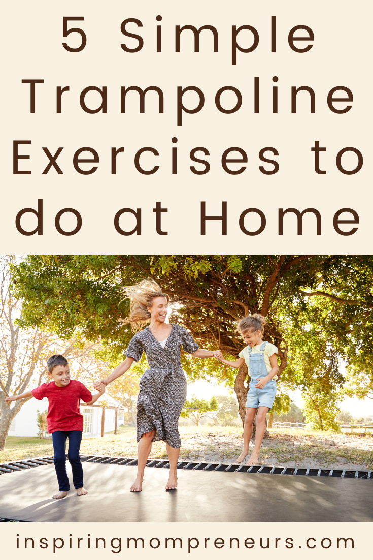 Here are some simple trampoline exercises for beginners that you can do on your trampoline at home. #trampolineexercises