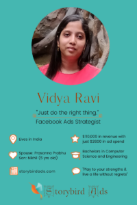 Vidya Ravi is a super successful, results-oriented FB Ads Strategist. What makes Vidya so successful as an FB Ads Strategist? She loves reading storybooks and she's a born storyteller. And she cares about her client's success. Read more... #fbadsstrategist #facebookmarketingspecialist #featuredmompreneur #inspiringmompreneurs